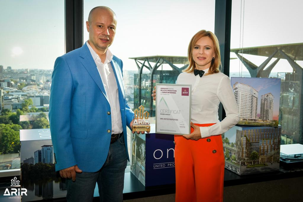 One United Properties, a treia cea mai mare companie antreprenorială românească listată la Bursa de Valori Bucureşti, devine membru ARIR